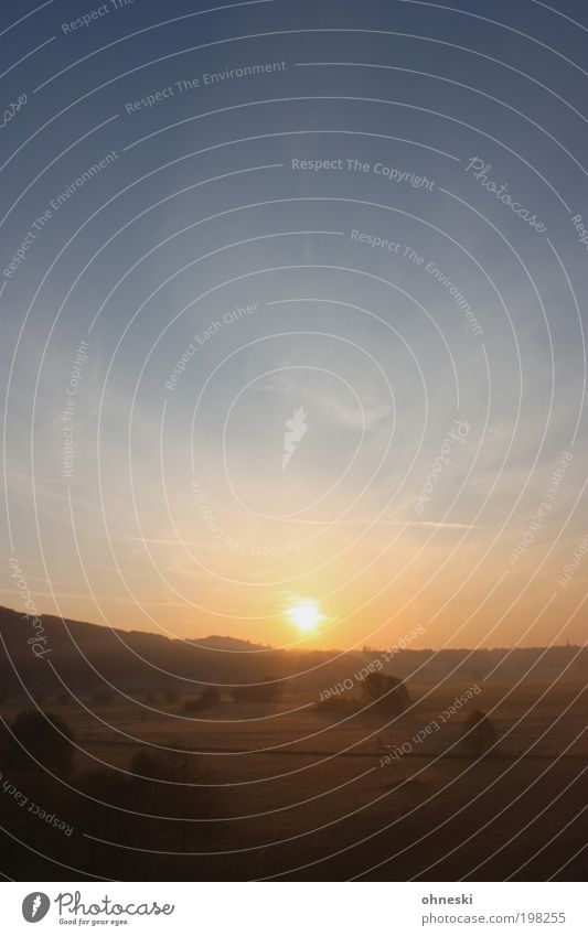 Ruhrtal Umwelt Natur Landschaft Pflanze Feuer Luft Himmel Sonne Sonnenaufgang Sonnenuntergang Sonnenlicht Wetter Schönes Wetter Baum Sträucher Feld Hügel
