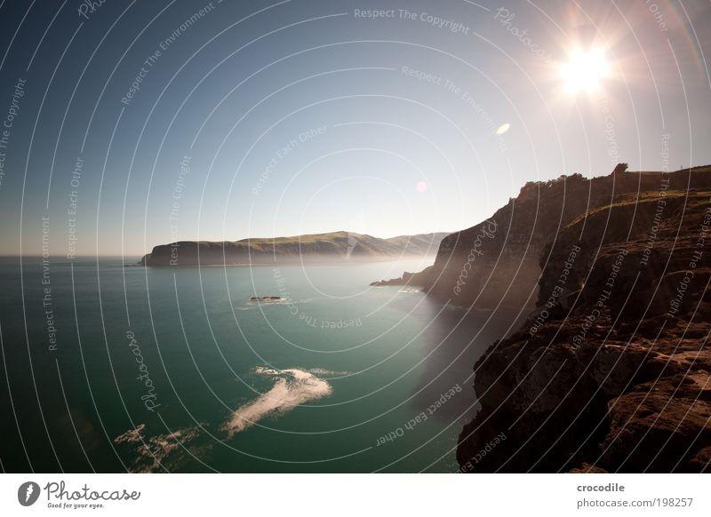 New Zealand XXIX Natur Himmel Sonne Meer Freude Strand Wiese Gras Berge u. Gebirge Landschaft Zufriedenheit Feld Wellen Küste Umwelt Felsen
