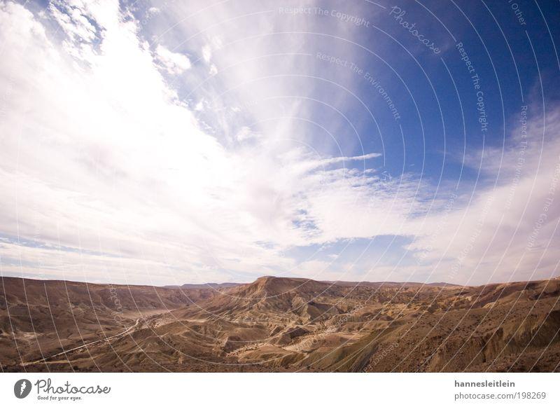 Der Himmel über der Wüste Negev Umwelt Natur Landschaft Erde Sand Wolken Sonne Sommer Schönes Wetter Wärme Dürre Israel Menschenleer beobachten Erholung