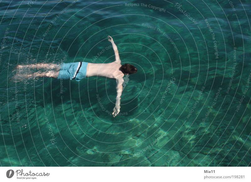 untertauchen Mensch Mann Jugendliche Wasser Meer grün blau Sommer Ferien & Urlaub & Reisen Erholung Wellen Körper Erwachsene maskulin