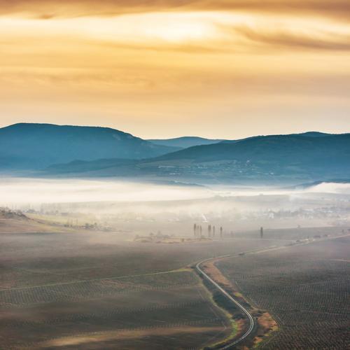 Misty Straße durch Felder Himmel Natur Ferien & Urlaub & Reisen blau Sommer Farbe weiß Sonne Landschaft Berge u. Gebirge schwarz Umwelt gelb Wiese Wege & Pfade