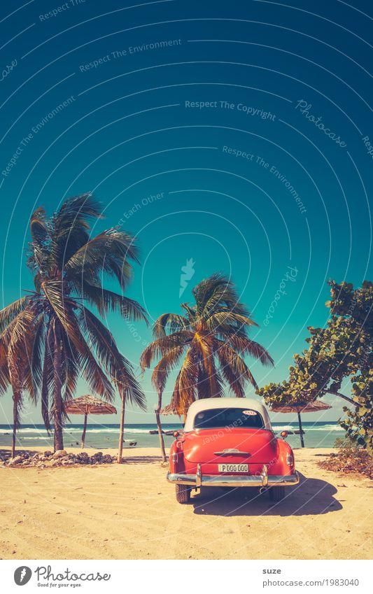 Urlaubsgrüße aus Kuba Ferien & Urlaub & Reisen alt blau Sommer Meer rot Strand Lifestyle Küste außergewöhnlich Zeit Sand Design PKW retro Vergänglichkeit