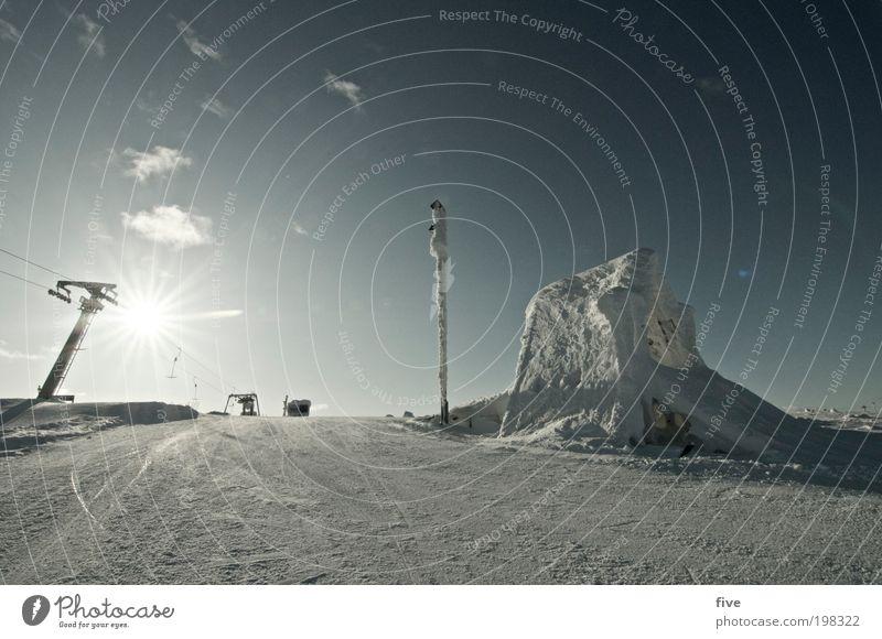schlepplift VI Himmel Natur Ferien & Urlaub & Reisen Sonne Wolken Haus Ferne Winter kalt Umwelt Schnee Freiheit Tourismus Eis Ausflug Schönes Wetter