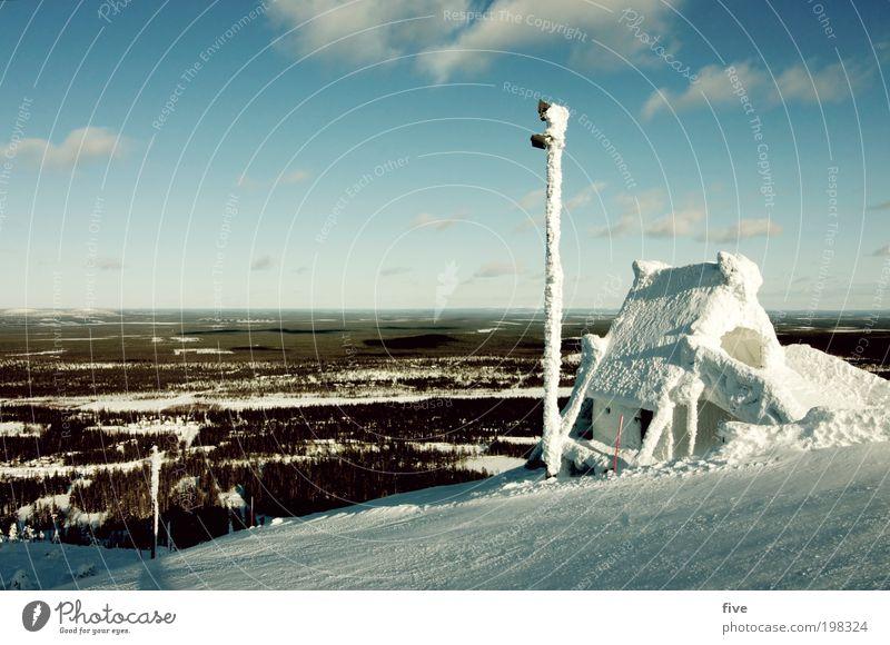 luosto XIV Himmel Ferien & Urlaub & Reisen Pflanze Baum Wolken Haus Ferne Winter Wald kalt Berge u. Gebirge Umwelt Schnee Freiheit Feld Tourismus