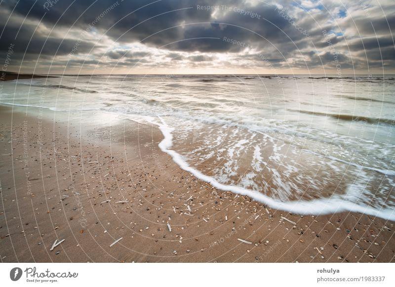 bewölkter Himmel über Nordseeküste Ferien & Urlaub & Reisen Strand Meer Natur Landschaft Sand Wasser Wolken Horizont Sonnenlicht Sommer Küste wandern Abenteuer