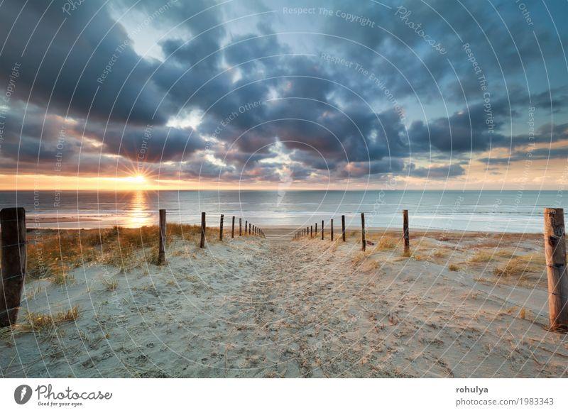 Weg zum Sand Meer Strand bei Sonnenuntergang Ferien & Urlaub & Reisen Natur Landschaft Horizont Sonnenaufgang Sonnenlicht Sommer Wärme Küste Nordsee Straße