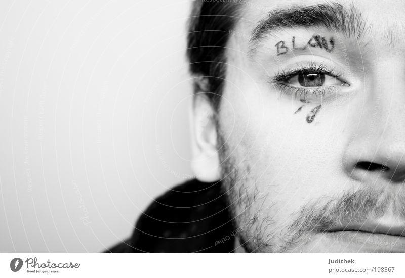 Blauäugig Mensch Jugendliche Gesicht Auge träumen Kopf Denken Erwachsene maskulin Schriftzeichen einfach Vertrauen machen Schwarzweißfoto dumm Kunst