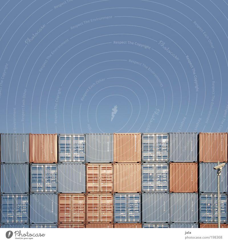 Depot Wirtschaft Industrie Handel Güterverkehr & Logistik Binnenschifffahrt Hafen Schienenverkehr gigantisch groß blau braun Container Ware Lager depot tetris