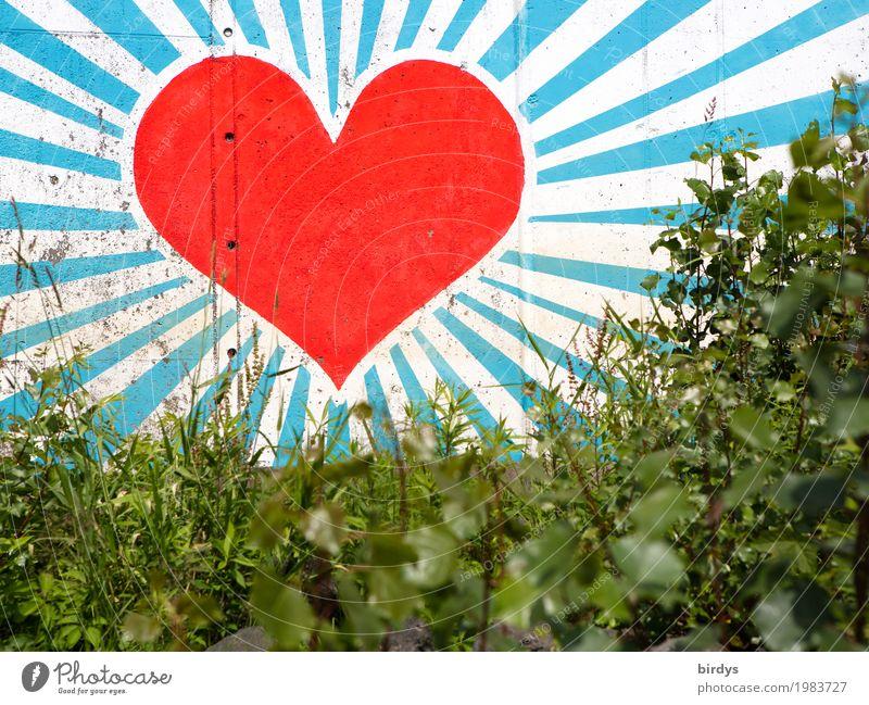 Herzliche Grüße Schönes Wetter Gras Sträucher Mauer Wand Zeichen Graffiti glänzend Liebe leuchten ästhetisch Fröhlichkeit gigantisch positiv schön blau grün rot