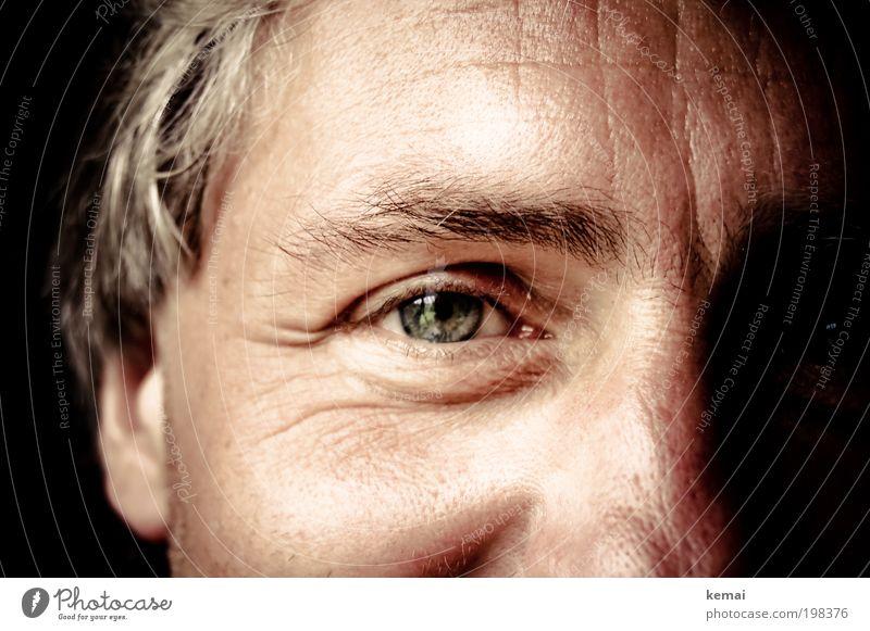 Mit einem lachenden Auge Mensch maskulin Mann Erwachsene Haut Kopf Gesicht Augenbraue Pupille 1 45-60 Jahre Lächeln Blick Glück schön nah grün Gefühle Freude