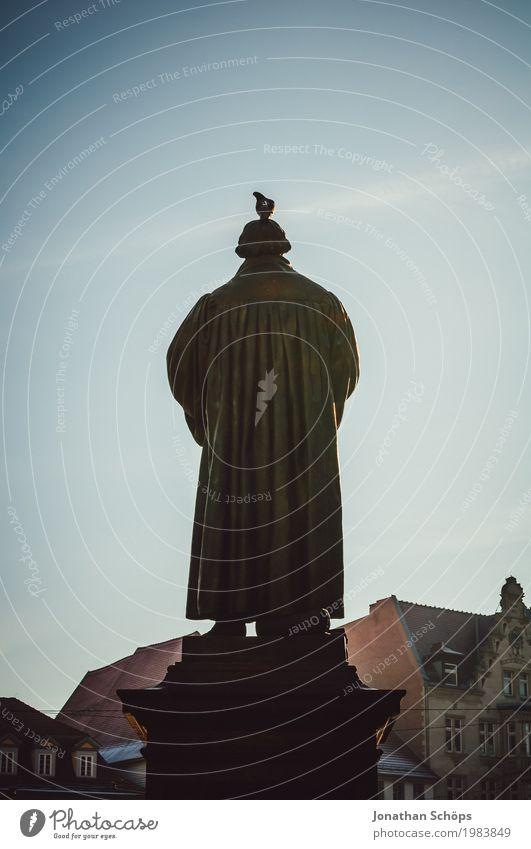 Martin Luther XVII 500 Christentum Erfurt Protestantismus Religion & Glaube Gott Jubiläum Orientierung Reform Rede Blauer Himmel Farbfoto Statue Denkmal