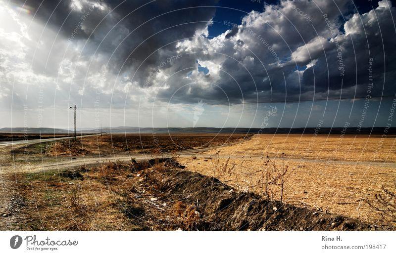 Überland Umwelt Natur Landschaft Urelemente Erde Himmel Wolken Horizont Sonnenlicht Herbst Klima Klimawandel Wetter Unwetter Wind Feld Straße Wege & Pfade