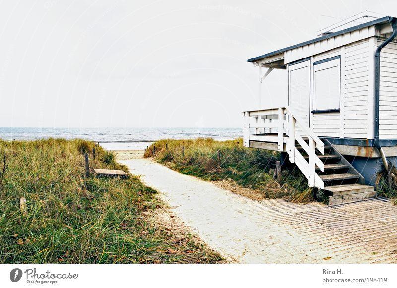 Saisonende III Himmel Natur blau Wasser weiß grün Ferien & Urlaub & Reisen Erholung Umwelt Landschaft Herbst Gras Sand Luft Stimmung Horizont