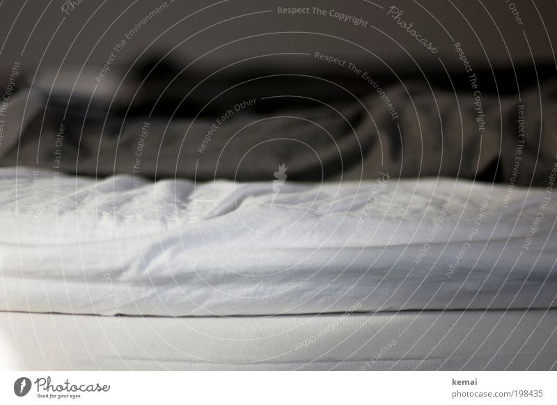 Ort der Träume weiß grau Raum schlafen Bett weich liegen Innenarchitektur Falte Möbel gemütlich Decke Schlafzimmer Bettwäsche unordentlich Faltenwurf