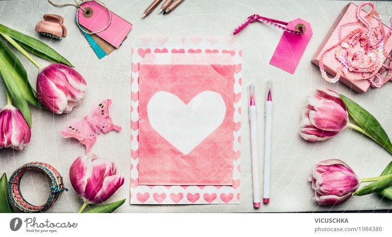 Rosa Tulpen Blumen und Papier Umschlag mit Herz gelb Frühling Liebe Innenarchitektur feminin Stil Feste & Feiern Design rosa Freizeit & Hobby Büro
