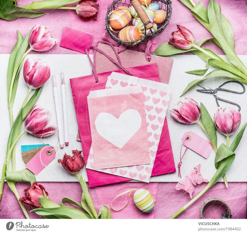 Osterdeko mit Tulpen und Eier Natur Pflanze Blume Liebe Innenarchitektur Stil Feste & Feiern Design rosa Häusliches Leben Dekoration & Verzierung Herz Ostern
