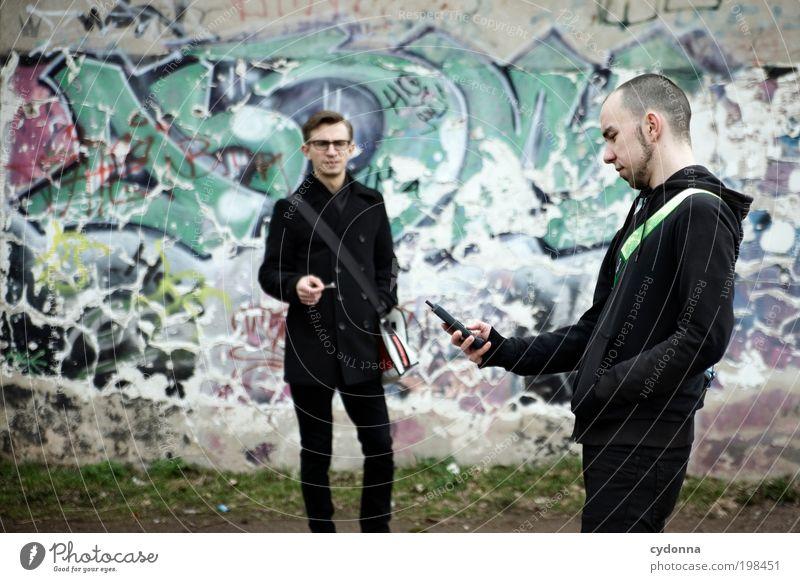 [HAL] Männer und Technik Mensch Mann Jugendliche Leben sprechen Graffiti Stil Erwachsene Freundschaft Design Lifestyle Hilfsbereitschaft Telefon Team Telekommunikation