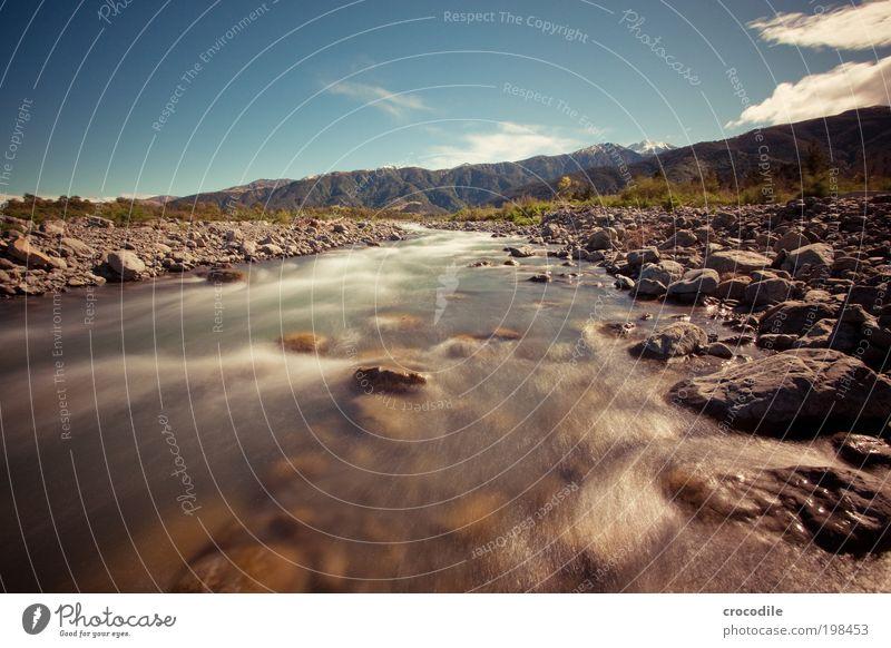 New Zealand XXXIX Umwelt Natur Landschaft Urelemente Wasser Himmel Schönes Wetter Pflanze Hügel Felsen Alpen Berge u. Gebirge Schneebedeckte Gipfel Bach Fluss