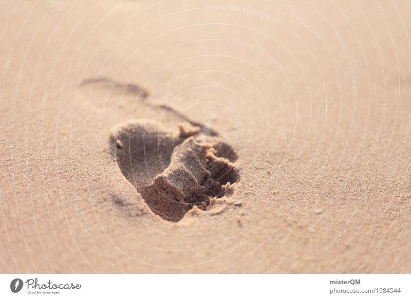 Once. Ferien & Urlaub & Reisen Kunst Zeit Sand ästhetisch Ewigkeit Vergangenheit Barfuß Fußspur Sandstrand Abdruck Urlaubsfoto Urlaubsstimmung Urlaubsort