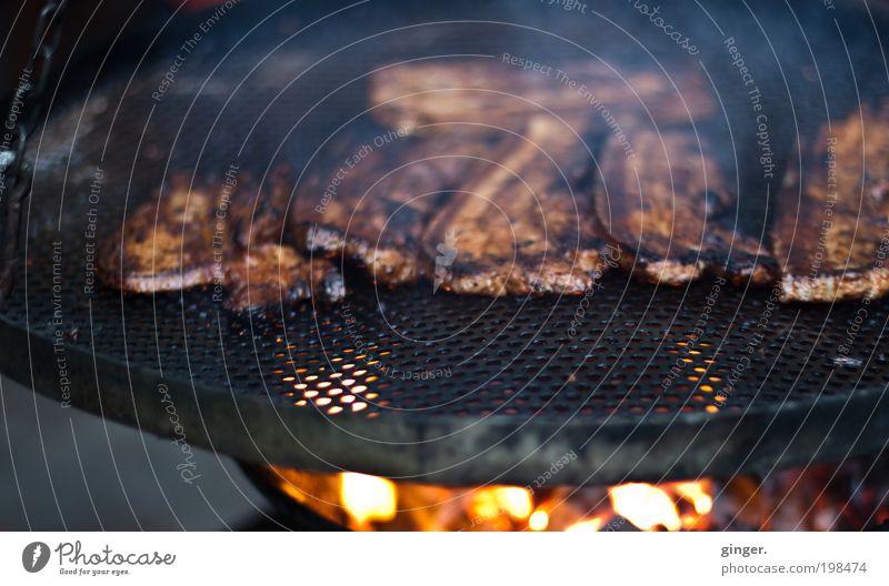 Fleischeslust Essen braun schwarz Grill Schwenkgrill Bauchfleisch Bauchspeck Grillen heiß Feuer Kohle rund Rauch lecker Appetit & Hunger Ernährung Menschenleer
