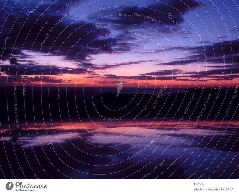 Sky mirror Natur Wasser Himmel Meer blau rot Strand ruhig Erholung Freiheit träumen rosa frei Horizont violett einzigartig