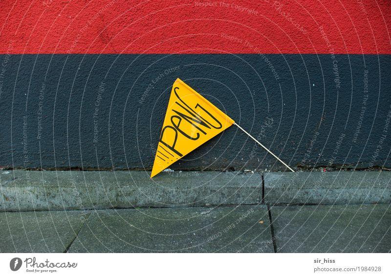 HH17 Fähnchentour - PeNG Mauer Wand Zeichen Schilder & Markierungen Hinweisschild Warnschild Knall Peng Schuss hässlich verrückt gelb grau rot Fahne Warnhinweis