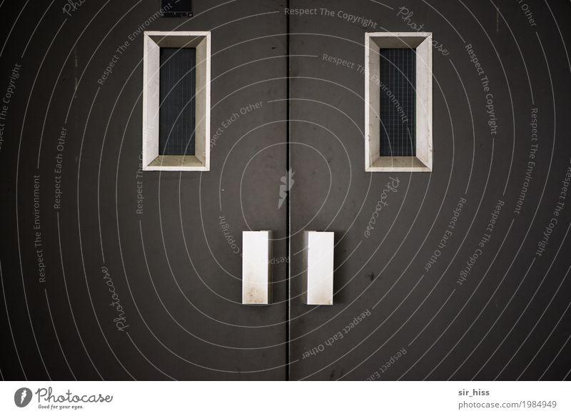 Türsteher Gesicht Haus Fahrstuhl Griff Traurigkeit warten grau silber weiß kalt skurril Stahl Eingangstür Gedeckte Farben Menschenleer Blick in die Kamera