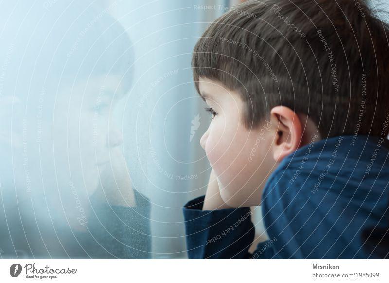 Am Fenster Mensch Kind Junge Kindheit Leben 1 3-8 Jahre Glück nah natürlich Neugier niedlich positiv Fröhlichkeit Zufriedenheit Vertrauen Sicherheit
