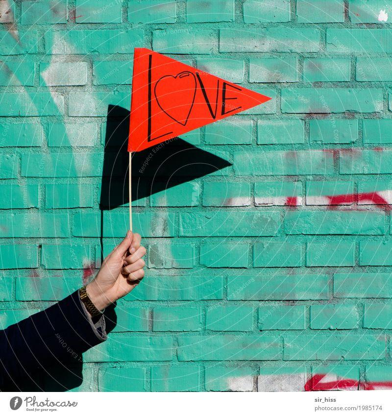 HH17 Fähnchentour - I love it! Mauer Wand Zeichen Schilder & Markierungen Hinweisschild Warnschild verrückt grün rot Freude Warmherzigkeit Zusammensein Liebe
