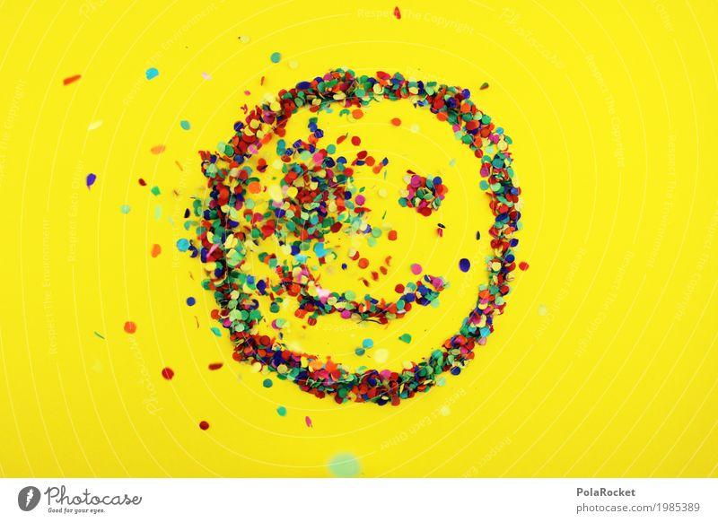 #S# lächle bunt 4 - Der Einschlag Freude Kunst Kunstwerk Gefühle Glück lachen mehrfarbig Punkt Konfetti Smiley Regen Auge Mund positiv grinsen gelb Farbfoto