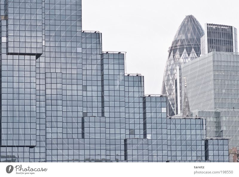 Abstrakte Stadt London Hauptstadt Stadtzentrum Hochhaus Gebäude Fassade eckig einfach elegant historisch modern Quadrat Würfel Tetris Abstufung 30 St Mary Axe