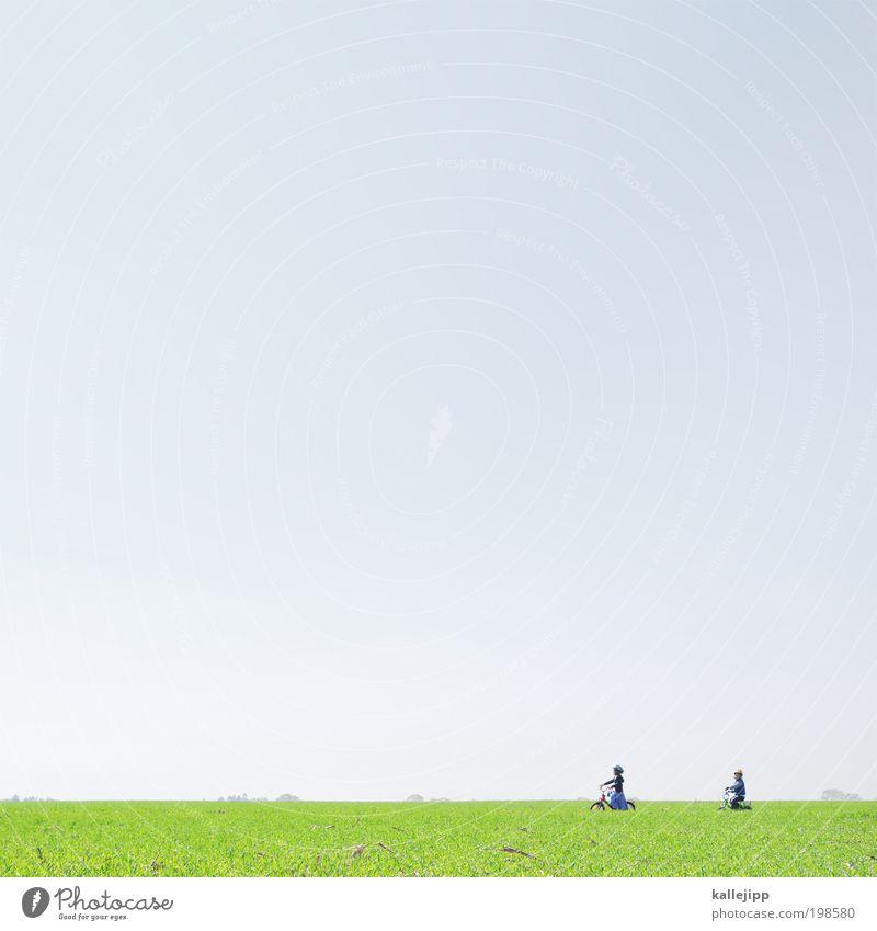 große weite welt Freizeit & Hobby Fahrradfahren Mädchen Junge Kindheit 2 Mensch 3-8 Jahre Umwelt Natur Landschaft Luft Himmel Frühling Wetter Schönes Wetter
