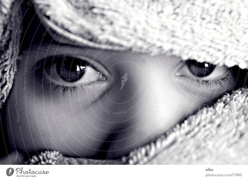 der Blick Frau Handtuch Mädchen Mensch Gesicht Auge
