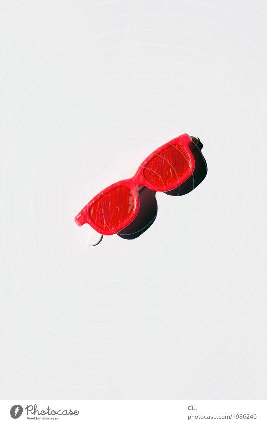 was zur verfügung stand / sonnenbrille (selbstgemacht) Ferien & Urlaub & Reisen Sommer Farbe weiß Sonne rot Freude Lifestyle Stil Party ästhetisch Kreativität