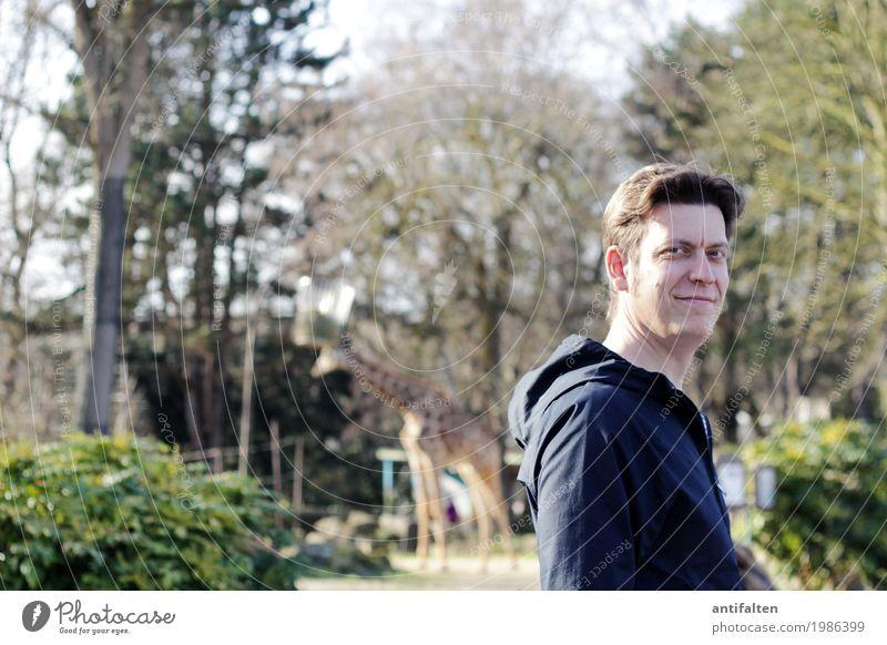 Ene Besuch im Zoo Lifestyle Ferien & Urlaub & Reisen Tourismus Ausflug Abenteuer Safari Mensch maskulin Mann Erwachsene Partner Kopf Gesicht 1 30-45 Jahre Natur