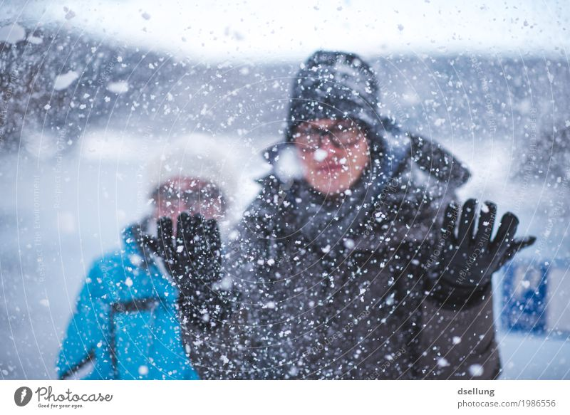 schneegestöber. Mensch Ferien & Urlaub & Reisen Jugendliche blau Junge Frau weiß Junger Mann Erholung Freude Winter 18-30 Jahre Erwachsene kalt Schnee feminin