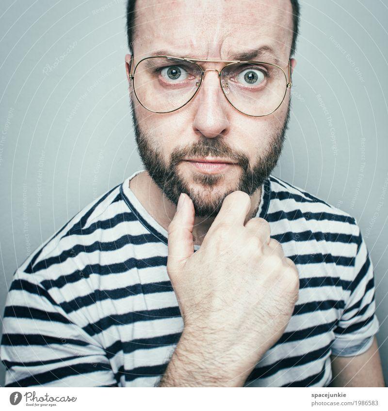 Skeptiker Mensch maskulin Junger Mann Jugendliche Erwachsene 1 30-45 Jahre Brille kurzhaarig Glatze Bart Dreitagebart Vollbart beobachten berühren seriös Erotik