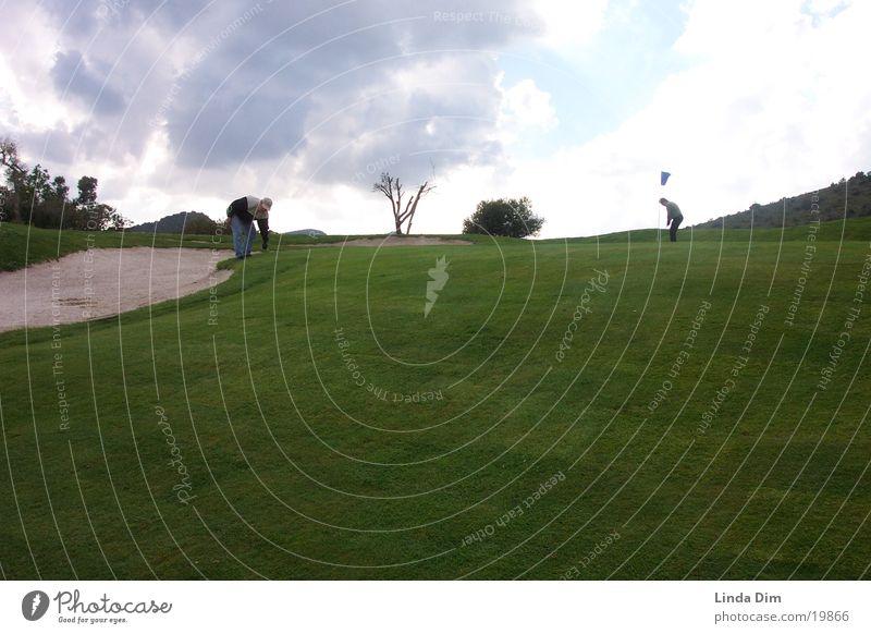 Golfwetter Ferien & Urlaub & Reisen Sport Landschaft Stimmung Rasen Spanien Mallorca Golfplatz Bunker Kulturlandschaft Platzdesign