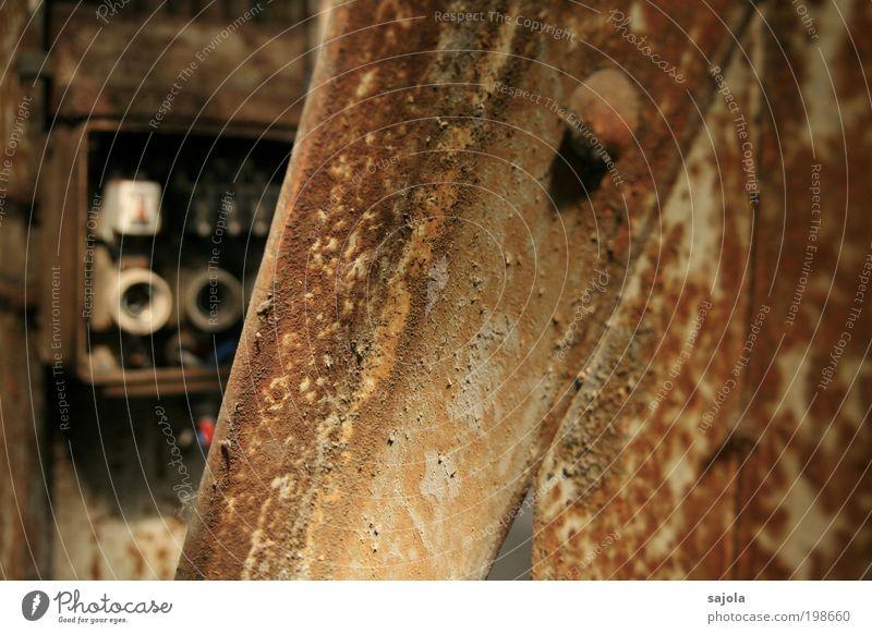 durchgebrannte sicherung? [LUsertreffen 04|10] alt Gebäude braun Metall Elektrizität Wandel & Veränderung Stahl Verfall Rost Halle Säule Industrieanlage