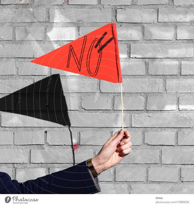 HH17 Fähnchentour | echtmanich Stadt Hand Leben Wand Mauer Schriftzeichen Ordnung Kommunizieren Arme Information festhalten Fahne Überraschung selbstbewußt