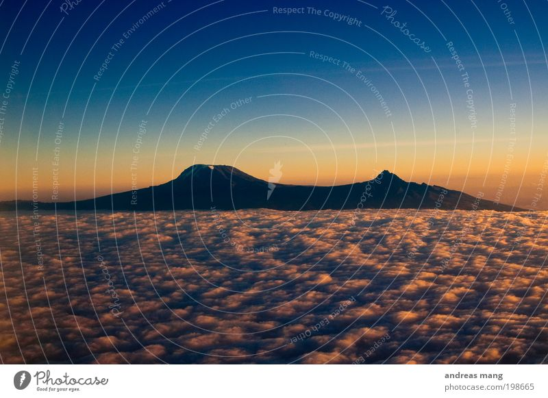 Eine Insel über den Wolken Himmel blau Ferien & Urlaub & Reisen kalt Freiheit Berge u. Gebirge Luft gold Horizont hoch Hoffnung Sehnsucht Unendlichkeit Afrika