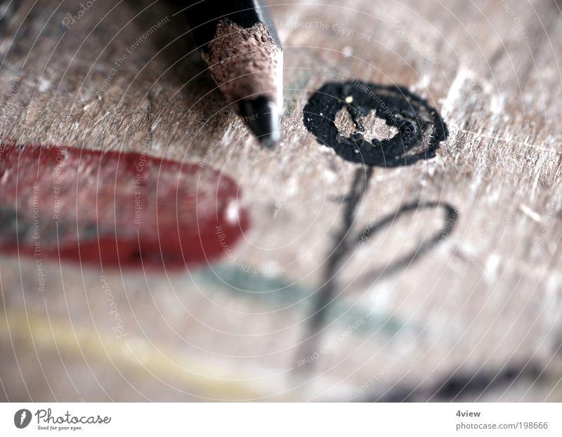 Blumenklex Blume rot schwarz Holz Kunst Design Tisch Bildung Berufsausbildung Werbebranche Künstler Maler Kultur Kunstwerk Mensch Material