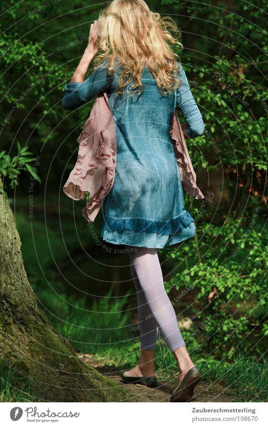 Blond forest Frau Mensch Natur Jugendliche schön Baum blau Sommer Wald Leben feminin Gras Mode blond Erwachsene laufen