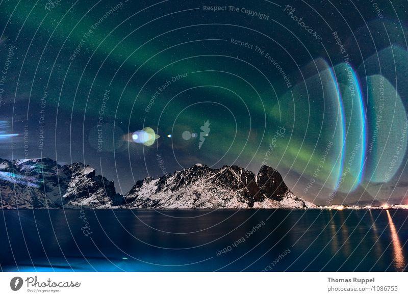 Aurora Himmel blau grün Wasser Landschaft Meer Winter Berge u. Gebirge Küste Europa Abenteuer Stern Gipfel Schneebedeckte Gipfel Sehenswürdigkeit Bucht