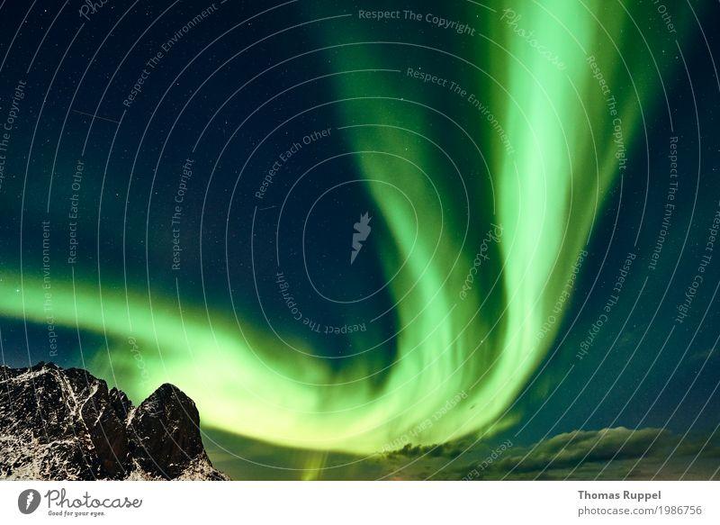 Aurora Himmel Natur Ferien & Urlaub & Reisen blau grün weiß Landschaft Wolken Ferne Winter Berge u. Gebirge Schnee Freiheit Tourismus Europa Schönes Wetter