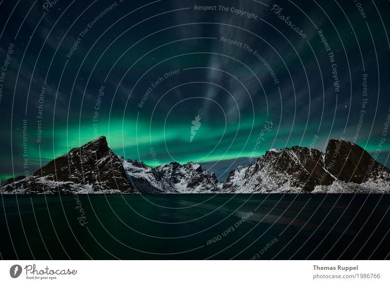 Aurora Himmel Natur blau grün Wasser Landschaft Meer Winter Berge u. Gebirge Europa Gipfel Schneebedeckte Gipfel Sehenswürdigkeit Bucht Norwegen Winterurlaub