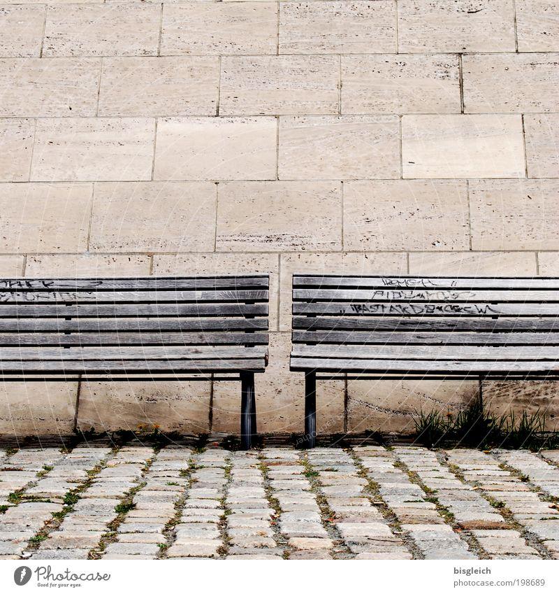 Bankgeheimnis Ruhestand Feierabend Stein Holz Erholung braun ruhig Einsamkeit Gelassenheit Farbfoto Gedeckte Farben Außenaufnahme Menschenleer Textfreiraum oben