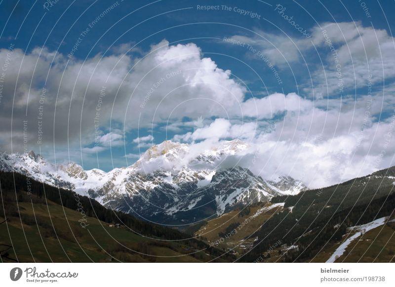 4 Jahreszeiten Himmel Natur Ferien & Urlaub & Reisen blau grün weiß Sonne Landschaft Wolken Winter Berge u. Gebirge Schnee braun gehen glänzend träumen