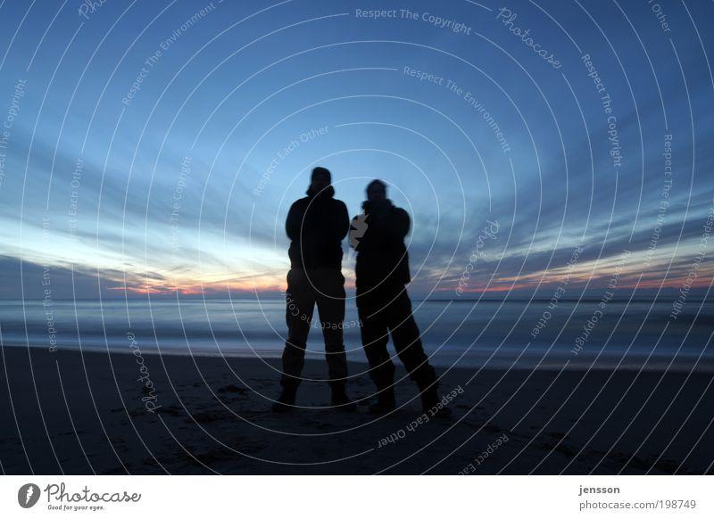 warten maskulin 2 Mensch 18-30 Jahre Jugendliche Erwachsene Umwelt Natur Himmel Wolken Horizont Sonnenaufgang Sonnenuntergang Küste Strand Nordsee beobachten