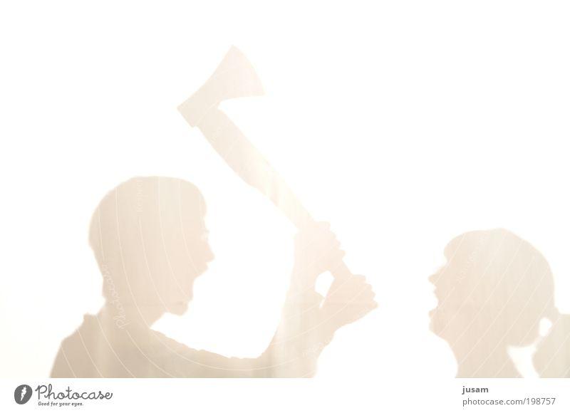 Shadow Scream Mensch gelb Holz Kopf Paar Familie & Verwandtschaft Angst maskulin Design bedrohlich gruselig Wut Gewalt Konflikt & Streit Partner kämpfen